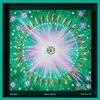 Green Lotus Mandala 100 cm x 100 cm Glaze, oil on canvas crystal